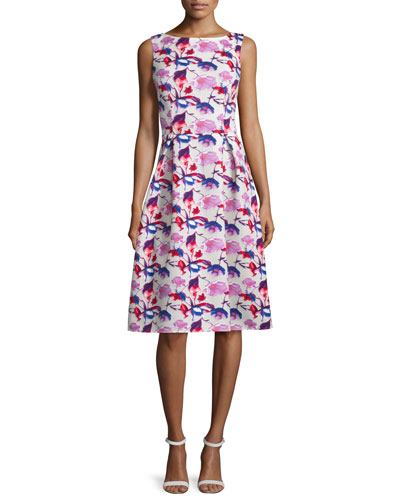 Sleeveless Floral Midi Dress, Multi