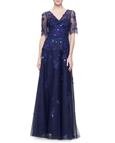 Short-Sleeve V-Neck Beaded Gown, Royal