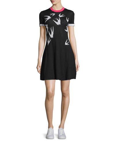 Short-Sleeve Jacquard Skater Dress, Black/White
