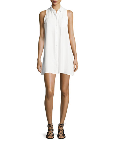 Mina Sleeveless Mini Shirtdress, Bright White