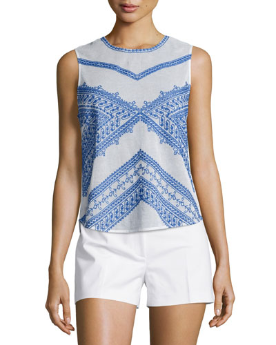 Jamie Sleeveless Jewel-Neck Top, Ecru/Blue