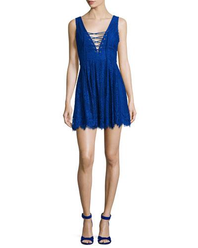 Storm Lace-Up Lace Mini Dress, Marine Blue