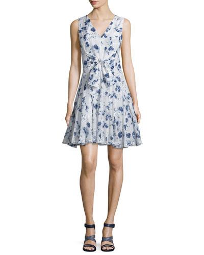 Silk Fit-and-Flare Meteor-Print Dress, Indigo/Sea Salt
