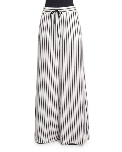 Striped Wide-Leg Drawstring Pants, Black/White