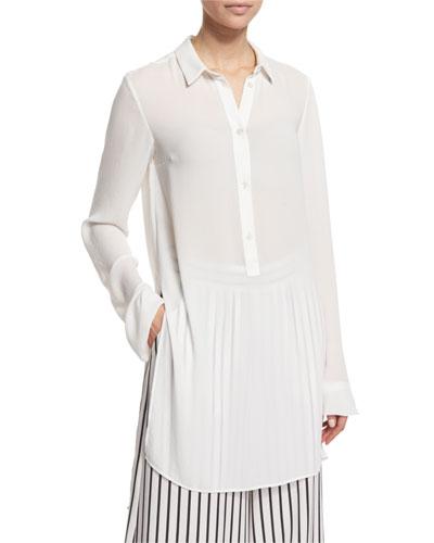 Long-Sleeve Tunic Blouse, Ivory