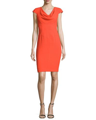 Cowl-Neck Cap-Sleeve Sheath Dress