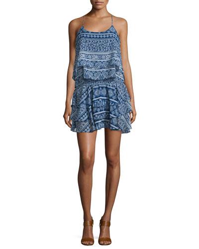 Tamara Sleeveless Tiered Mini Dress, Blue Pattern