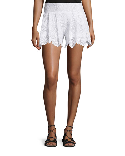 Spanish Lace Fan Shorts, White