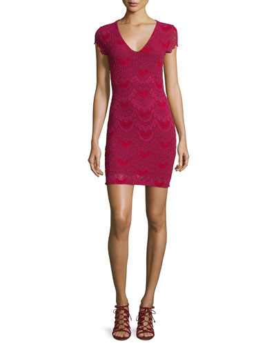 Spanish Lace Cap-Sleeve Dress, Sangria