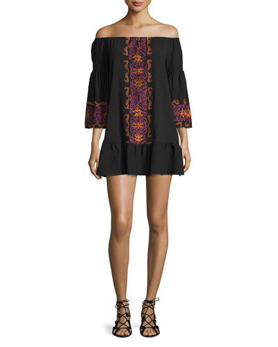 Santorini Off-The-Shoulder Embroidered Dress, Black