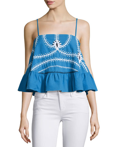 Sumatra Embroidered A-Line Top, Periwinkle