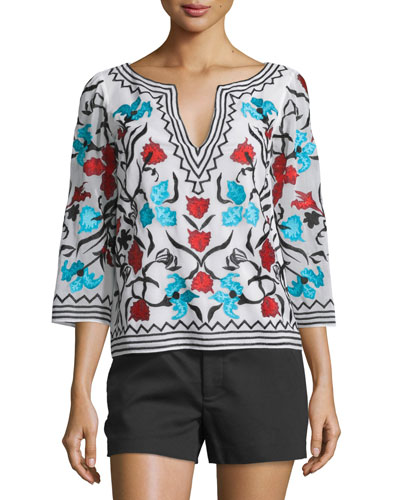 Trisha Embroidered Bell-Sleeve Top, Multicolor
