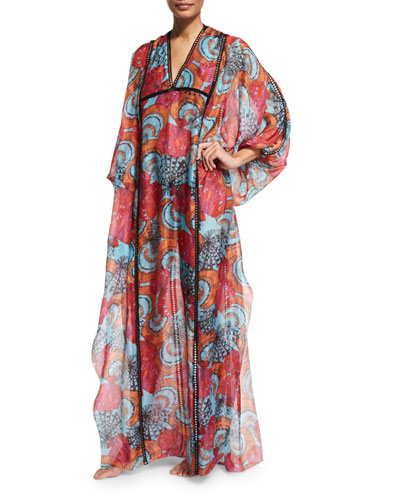 Conchiglie Printed Long Caftan Coverup