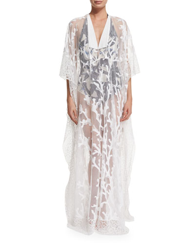 Printed-Mesh Long Caftan Coverup, Bianco