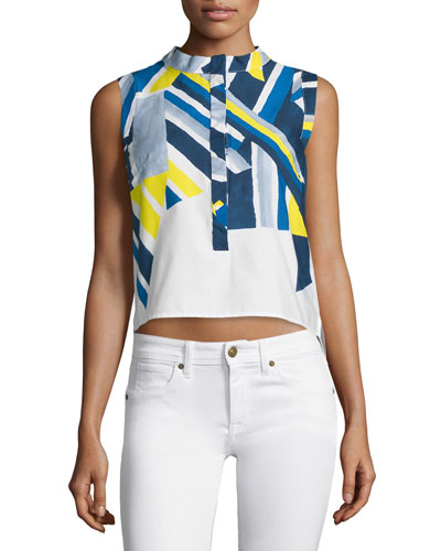 Sleeveless Inkblot Printed Top, Citron