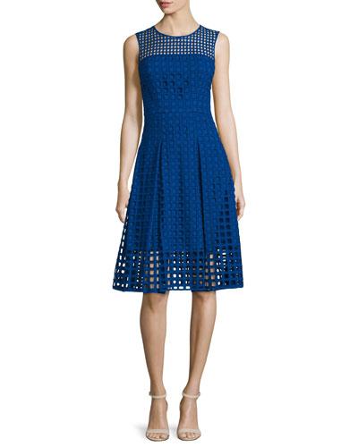 Sleeveless Square-Eyelet Cotton Dress, Cobalt
