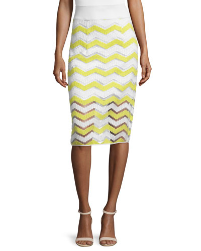 High-Waist Chevron Pencil Skirt, Citron/White