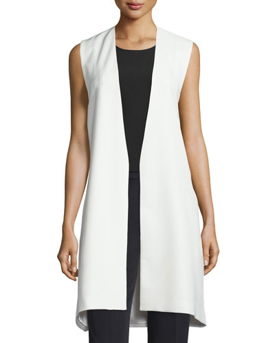 Open-Front Angular Long Vest, White