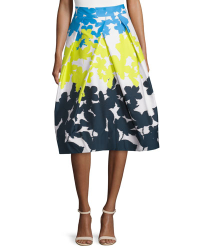 Clarisa Floral-Print A-Line Skirt, Multi Colors