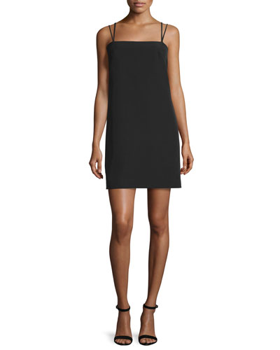 Strappy Seamed Shift Dress, Black
