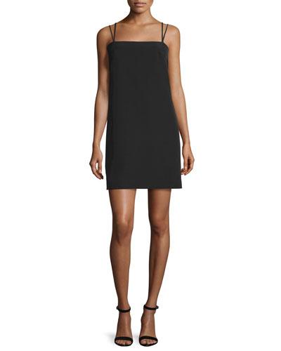 Strappy Seamed Shift Dress, Black