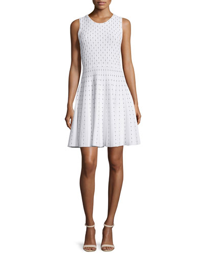 Dot-Print Fit-&-Flare Dress, Ivory/Black
