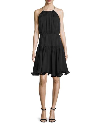 Madison Sleeveless Tiered Sundress, Black
