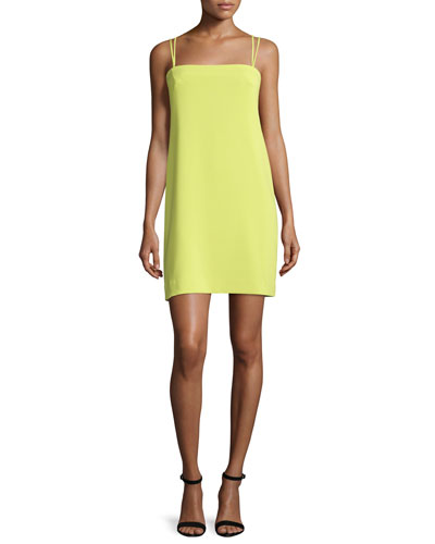 Strappy Seamed Shift Dress, Citron