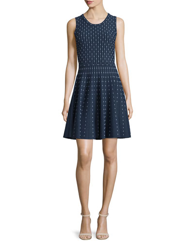 Dot-Print Fit-&-Flare Dress, Navy/Ivory