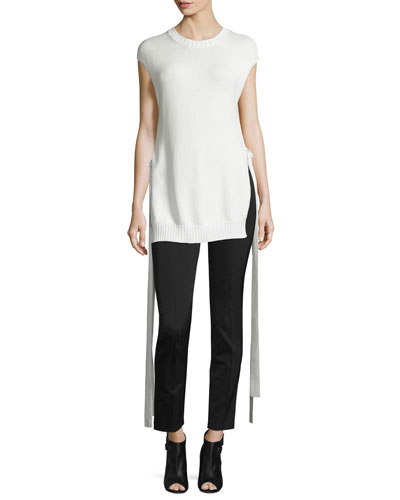 Cap-Sleeve Knit Ribbon-Trim Top, Off White