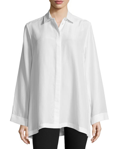 Olly Button-Front Silk Oversized Blouse, Off White