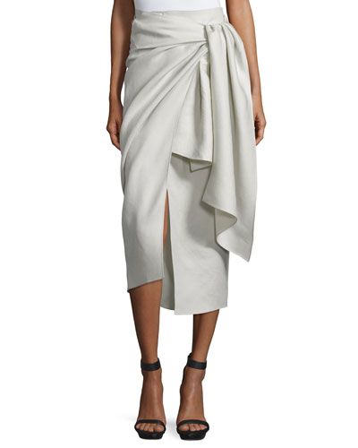 Fran Metallic Twill Wrap Skirt, Pumice