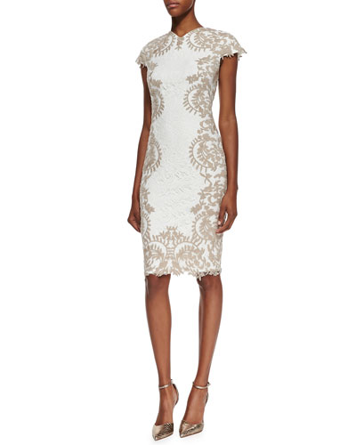 Cap-Sleeve Embroidered-Border Cocktail Dress, Ivory/Sand