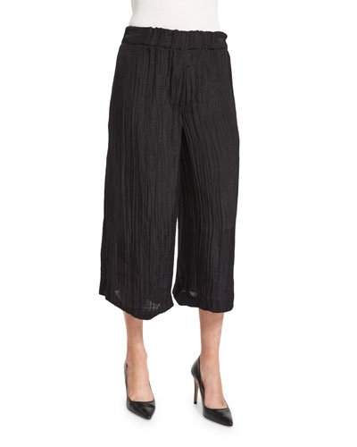 Crinkled Wide-Leg Gauze Pants, Black