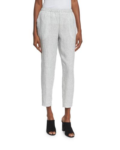 Organic Linen Check Ankle Pants, Petite