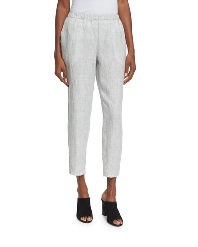 Organic Linen Check Ankle Pants, Plus Size