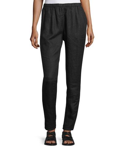 Organic Linen Slouchy Pants, Black, Petite