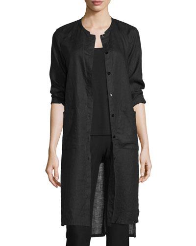 Long Organic Linen Jacket, Black, Plus Size