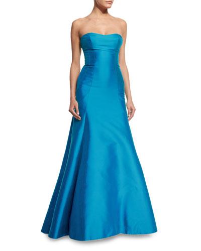 Strapless Sweetheart-Neck Gown, Ocean Blue
