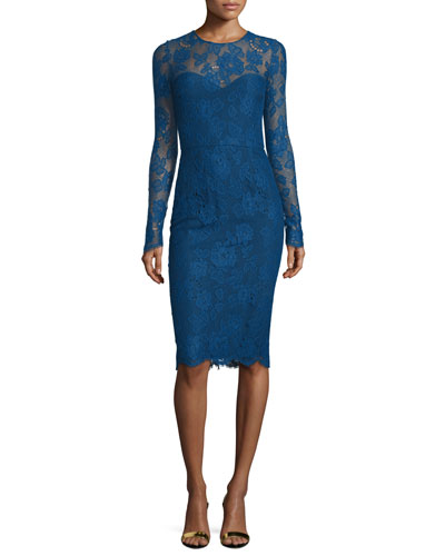 Long-Sleeve Lace Sheath Dress, Royal Blue