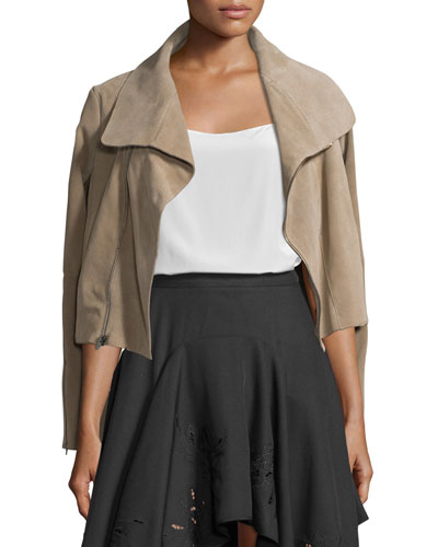Zip-Front Suede Jacket, Dark Sand