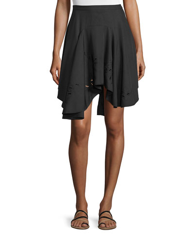 Flounce Asymmetric-Hem Skirt, Black