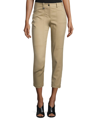 Slim-Fit Cropped Pants, Thyme