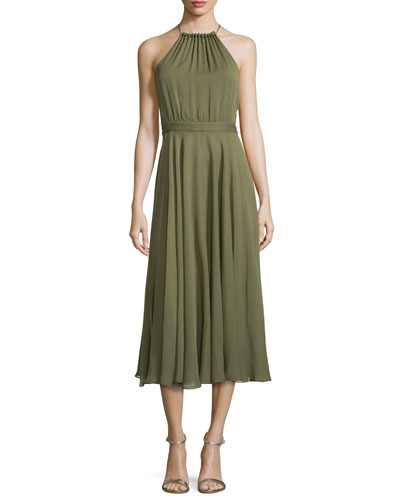 Halter-Neck Shirred Midi Dress, Willow