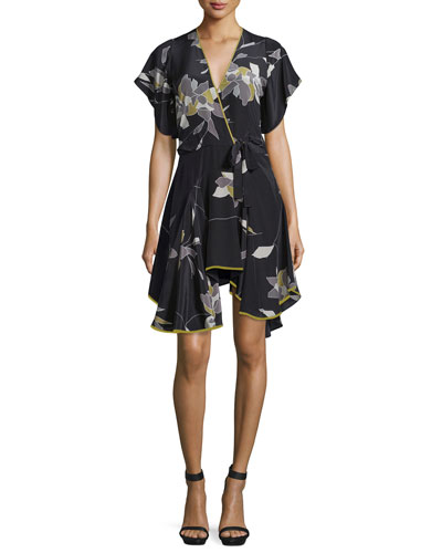 Belted Flounce-Hem Dress, Black/Flowing Petal