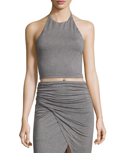 Jaymee Cropped Halter Top, Heather Gray