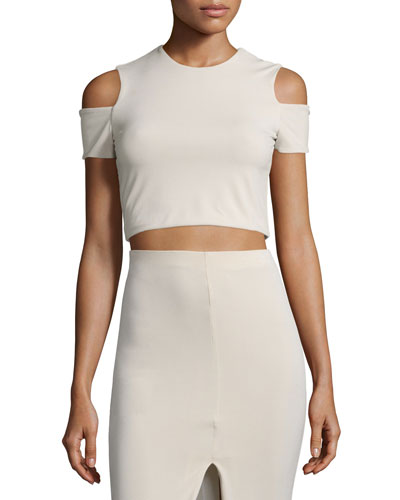 Vicki Cold-Shoulder Crop Top, Tan