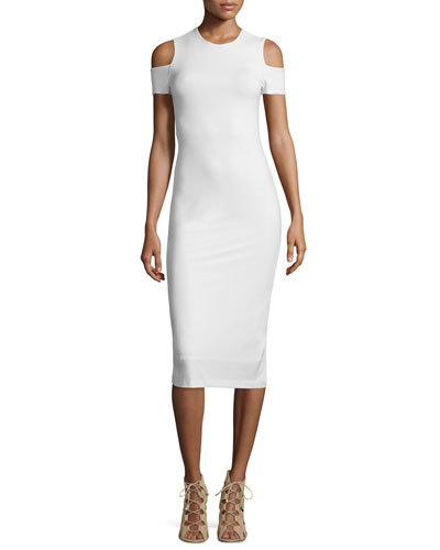 Meya Cold-Shoulder Stretch Midi Dress, Cream