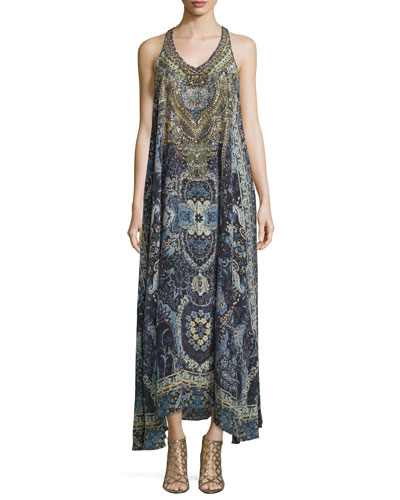 Embellished Sleeveless Maxi Dress, Constantinople