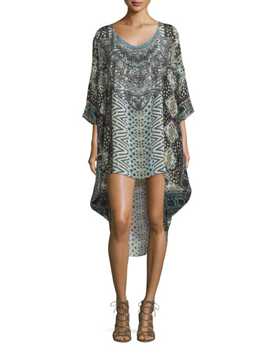 3/4-Sleeve Embellished Dress, Imperial Echo
